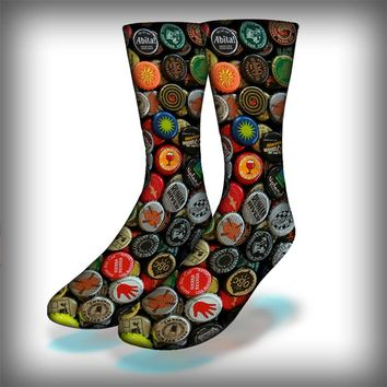 Beer Caps Crew Socks Novelty Streetwear