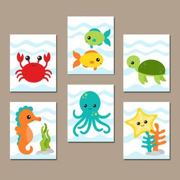 OCEAN Animals Wall Art, Ocean Animal Bathroom Decor, CANVAS or Print, Under the Sea Animals Bathroom, Child Kid Bath Decor, Set of 6 Artwork