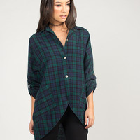 Front Slit Button Up Plaid Flannel - Green/Navy /