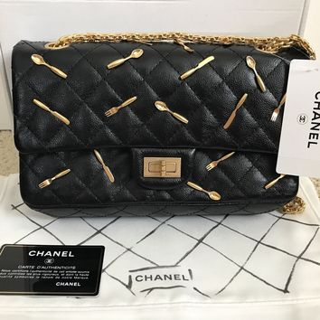 NWT Auth Chanel Reissue Black Quilted Brasserie Charm Runway Flap Bag Handbag