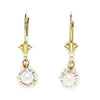 14KT Yellow Gold Cubic Zirconia Small Flower Drop Leverback Genuine Pearl Earrings - Measures 22x7mm