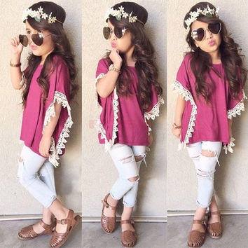 New Clothing Sets Kids Girl's Wear Fashion Short Sleeve Lace Decor Loose Tops and Denim Hollow Out Pants Casual Sets (Size: 130, Color: Purple & Blue) = 5613062657