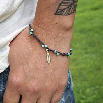 Aqua Mint Green with Feather Anklet or Bracelet