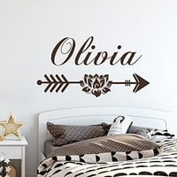 Name Wall Decal Lotus Vinyl Decal Name Nursery Wall Decal Arrow Tribal Wall Decal Trendy Adventure Arrow Decor SN35