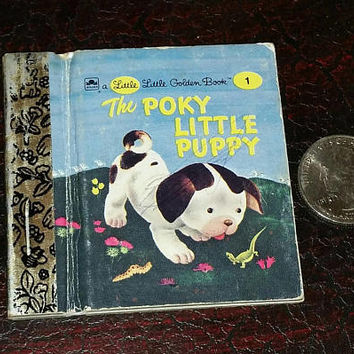 Vintage MINIATURE POKY PUPPY Book 1942 1st Edition, Mini Little Golen Books Childrens Story Book, Tiny Rare Collectible Puppy Dog Lover Gift