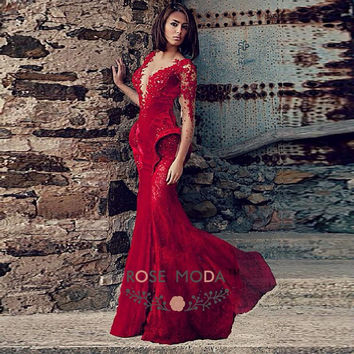 Sexy Deep V Neck Long Sleeves Wine Red Lace Velvet Prom Dress with Low V Back Arabic Prom Dress