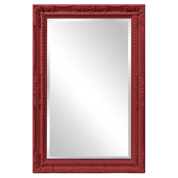 "Howard Elliott Queen Ann Rectangular Glossy Red Mirror 24"" x 36"" x 1"""