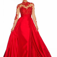 Long Sleeve Lace/Taffeta High Neck Prom Pageant Gown Formal Evening Dress Party Dresses / Empire Waist Sheer Neck / Red | Black 61393R