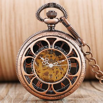 Retro Flower Hollow Roman Numerals Automatic Mechanical Pocket Watch Self Winding Skeleton Steampunk For Men Women