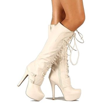 Task-34 Knee High Boots Lace up Platform Stiletto Heel