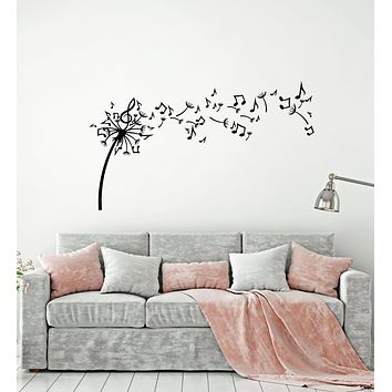 Vinyl Wall Decal Dandelion Flowers Music Notes Patterns Stickers Mural (g1817)