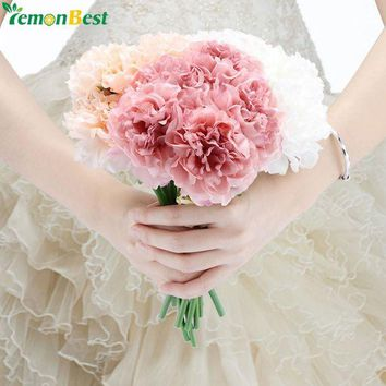 DCCKU7Q 5 Heads Artificial Flowers High Quality Peony Flower Bridal Bouquet Fake Floral Hydrangea For Home Christmas Wedding Decoration