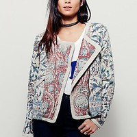 Free People Womens Quilted Printed Suede Jacket