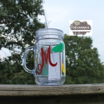 16oz Acrylic Double Insulated Mason Jar Tumbler with Lid and Straw - Dark Color Intial and Butterflies