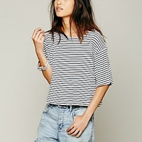 We The Free Womens We The Free Boxy Crop Stripe Tee - BLACK/WHITE