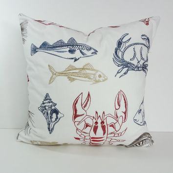 Embroderied Pillow Cover, Red, White and Blue Pillow Cushion, Lobster, Crab, Fish, Throw Pillow Cover