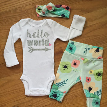 Baby girl going home set - floral on light blue theme - hello world, baby shower gift, coming home outfit new baby going home outfit