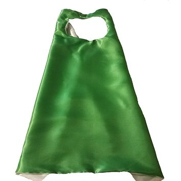 Plain Green and Silver Reversible Superhero Cape