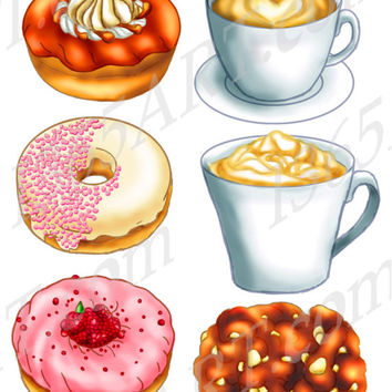 Donuts Cafe 6 Digital Clipart Set Coffee cup, Cappuccino, Doughnuts, Apple Fritter, Jelly Digitally Painted 300 DPI Instant Download