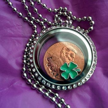 Lucky Penny - Necklace - Locket - Lucky Penny Jewelry -Shamrock Lucky Locket - Personalized Lucky penny