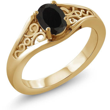 Oval Black Onyx 18K Yellow Gold Plated Silver Ring