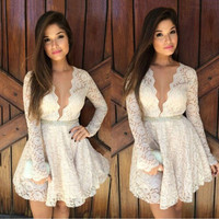 Elegant White Lace Dress Women Vestidos De Festa Deep V-Neck Vintage Party Sexy Casual Plus Size Elegant Evening Club Lace Dress