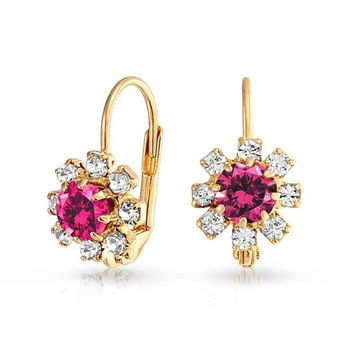 Pink White Crystal Flower 18K Gold Plated Drop Earrings Ruby