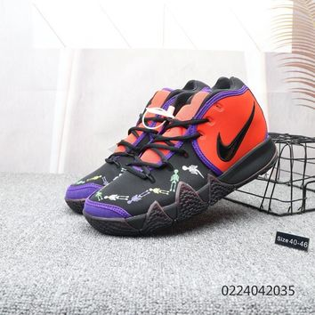 DCCK2 N001 Nike Kyrie 4 EP Basketball sneaker wear-resisting actual combat basketball combat boots Red Purple Black