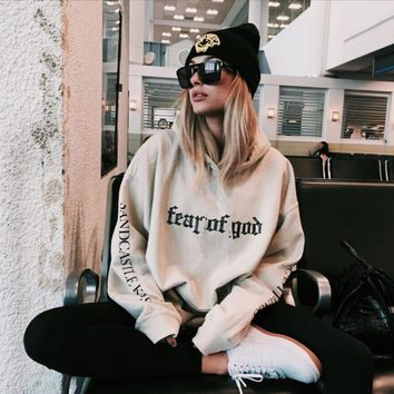 Khaki Hoodie streetwear hoodies men oversized style Printed hooded sweatshirts fear god clothing hiphop with thin fleece hoody