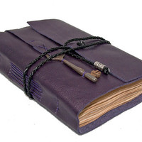 Purple Leather Journal with Skeleton Key Bookmark and Tea Stained Pages