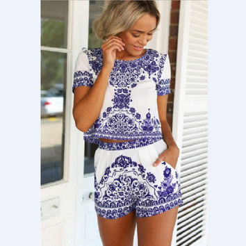Summer Casual Dress Print Retro Blue And White Porcelain Pattern Tshirt + Shorts 2 piece