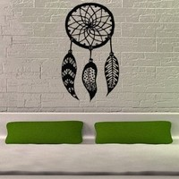 Dreamcatcher Dream Catcher Feathers Wall Vinyl Decal Art Sticker Home Modern Stylish Interior Decor for Any Room Smooth and Flat Surfaces Housewares Murals Graphic Bedroom Living Room (2520)