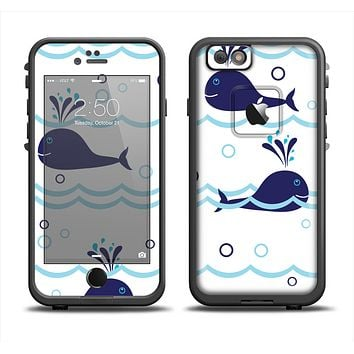 The Navy Blue Smiley Whales Apple iPhone 6 LifeProof Fre Case Skin Set