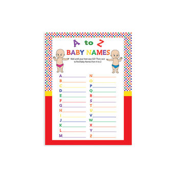 "Printable Baby Shower Game ""Baby Names"""