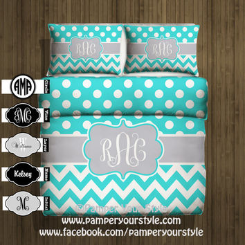 Polka dot and Chevron Duvet with 2 Matching Shams -  Aqua and Gray Monogrammed Bedding - Personalize with Name or Monogram - Create your Bed