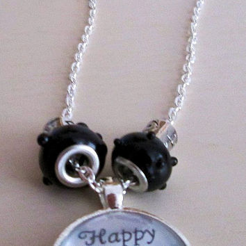 Glass circle photo pendant, silver plated link chain necklace, Happy animals, happy life, Motivational quote jewelry, European beads, Love