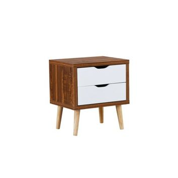 Modern Contemporary Nightstand Side Table with 2 Drawers, White/Dark Gray - Walmart.com