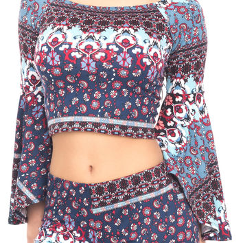 OFF THE SHOULDER PRINTED BELL SLEEVE TOP