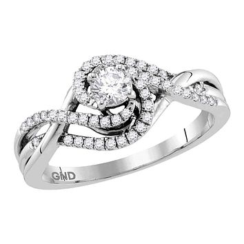14kt White Gold Women's Round Diamond Solitaire Swirl Crossover Bridal Wedding Engagement Ring 1/2 Cttw - FREE Shipping (US/CAN)