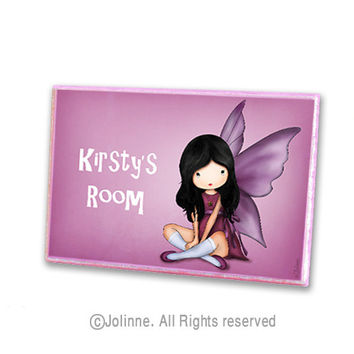Angel fairy personalized door plaque, children pink room sign, door sign for girls room or nursery, girls room welcome sign