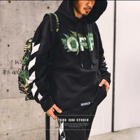 Off White Mens FernXE Hoodie Black