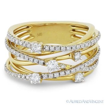 0.78 ct Round Cut Diamond Right-Hand Overlap Loop Wrap Ring in 14k Yellow Gold