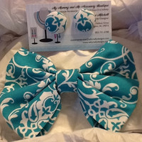 Teal and White Bow Tie and Button Earring Set
