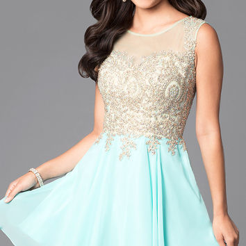Short Homecoming Dress with Jewel-Embellished Sheer Bodice