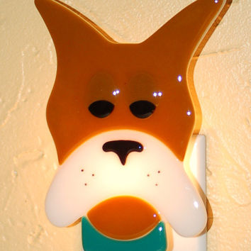 Fused Glass Great Dane Night Light - tan & white