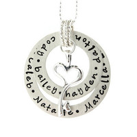 Circle of Love - Mothers Jewelry - Necklace with a puffy heart charm and freshwa J.C. Jewelry Design