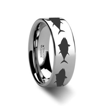 Sea Pattern - Tuna Fish Jumping - Sea Print Ring - Laser Engraved - Flat Tungsten Ring - 4mm - 6mm - 8mm - 10mm - 12mm
