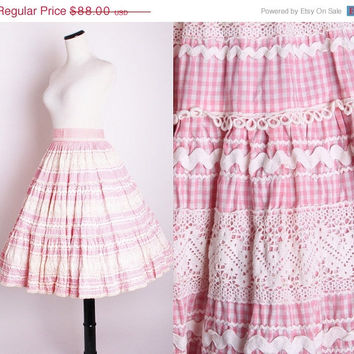 1950s Pink Cotton Gingham and Lace Circle Skirt / Skirt / Skirts / Vintage Skirt / 1950s Skirt / Pink Skirt / 1452