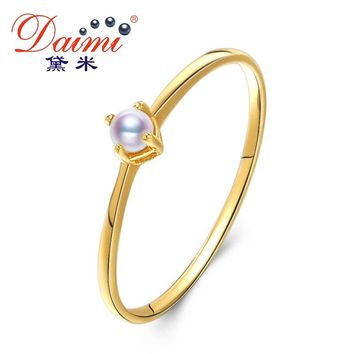 DAIMI 2.5-3mm Tiny Akoya Pearl Ring G14K Gold Ring White Perfect round Pearl Tail Ring