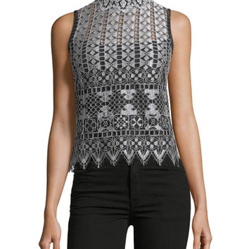 Nanette Lepore Magic Trick Sleeveless Lace Top | Neiman Marcus